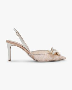 c9196e2a722b Lace slingback with pearls  find all details on this exclusive product. Buy  it easily at the official online Boutique for René Caovilla