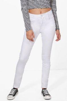 #boohoo Mid Rise Skinny Jeans - white DZZ51096 #Laura Mid Rise Skinny Jeans - white