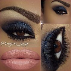 Smokey blue eye with Nude Lips