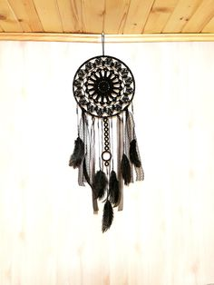 Large Pure Black dream catcher Black Crochet Boho by GypsysSummer
