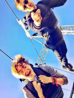 Shai and Theo ziplining #DIvergent