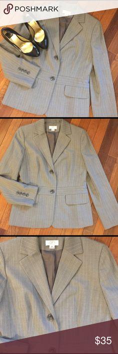 """Ann Taylor Loft Suit Jacket 8 Petite Ann Taylor Loft Suit Jacket .  Grey with light pin stripes .  Faux front pockets .  Perfect condition .  All measurements taken flat .  Size Medium measures shoulder to hem 25"""", armpit to armpit 17"""", waist 16"""", sleeve 21.5"""".  Bundle 2+ and Save 20% LOFT Jackets & Coats Blazers"""