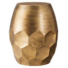 Round Metal Honeycomb Accent Table - Gold $80