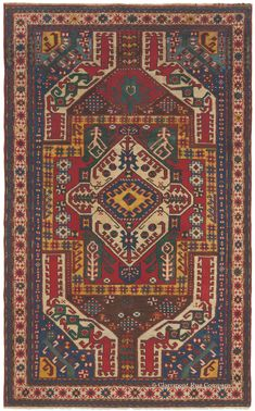 "Tribal Antique Persian Rug from Caucasian Rug Group 5'1"" x 8'1"" 11k"