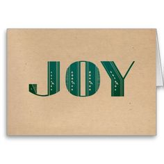 """Joy Teal Turquoise Art Deco Holiday Greeting Card with """"recycled paper"""" texture. 