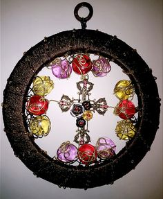 Cross with Roses Sun Catcher by LaurelcreationsArt on Etsy
