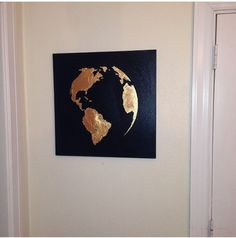 XMAS SALE Gold leaf painting map of the world by 10kiaatstreet