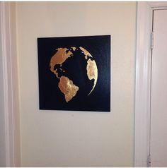 Blattgold-Malerei-Karte von der Gole Blatt Welt von 10kiaatstreet