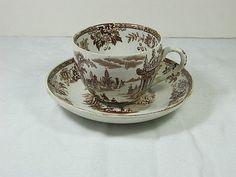 Vintage Brown TRANSFERWARE TEA CUP Shabby by LavenderGardenCottage easy