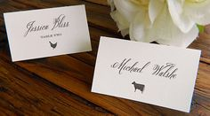 DIY Printable Place Card/Escort Card with food icons - www.paperandlaceaustin.etsy.com.