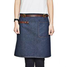 Half Length Blue Denim/Gray Canvas Apron w/ Leather Straps Barber Barista Florist Cafe Bar Bistro Uniform Waitress Workwear K37