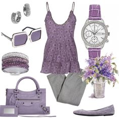 Lovely Lavenders - Casual Spring Fashion, created by pwatches on Polyvore: http://www.princetonwatches.com/shop/SNDY17.asp