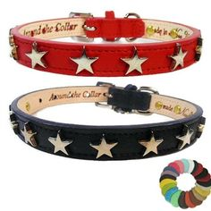 A genuine leather dog or cat collar decorated with nickel star studs. Choose your leather color. Custom Cat Collars, Bling Dog Collars, Leather Dog Collars, Designer Dog Collars, Collar And Leash, Silver Stars, Dog Design, Your Dog, Dog Cat