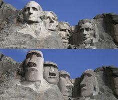 As Estátuas da Ilha de Páscoa substituem as esculturas originais dos presidentes americanos no Mount Rushmore, nos EUA (Foto: Designcrowd.com/Divulgação)