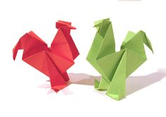 Easter Origami Rooster / hen - Tutorial - How to make an origami rooster...