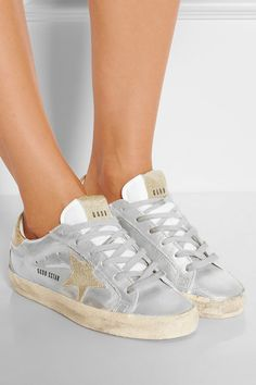 Golden Goose Deluxe Brand | Super Star metallic distressed glittered leather sneakers | NET-A-PORTER.COM