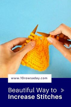 Detailed step-by-step tutorial about a simple way to increases stitches that forms a pretty line of increases and can be used to create beautiful textured stitch patterns. Knitting Increase, Knitting Help, Knitting Stiches, Easy Knitting Patterns, Knitting Videos, Knitting Projects, Crochet Stitches, Baby Knitting, Knit Crochet