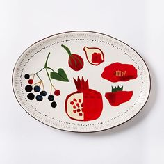 Collector's Edition Serving Platter, Large Oval, Red Pomegranate