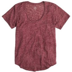 J.Crew Linen Scoopneck T-Shirt ($39) ❤ liked on Polyvore featuring tops, t-shirts, shirts, tees, short sleeved tops, loose shirts, scoop neck t shirt, linen t shirt, red short sleeve shirt and loose fitting t shirts