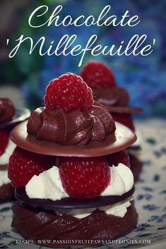 Instead of handing over a box of chocolates this Mother's Day, make the chocolates into thoughtful and scrumptious Chocolate and Raspberry 'Millefeuille'. No need for tricky pastry making here, instead I've used Prestat chocolate discs, homemade chocolate Homemade Chocolate, Mothers Day Chocolates, Afternoon Tea, Sweet Recipes, Raspberry, Sweet Treats, Cheesecake, Whipped Cream, Cheesecakes