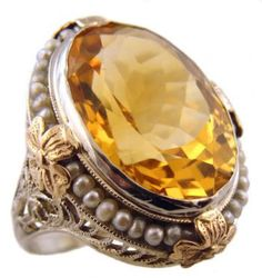 Art Deco Citrine & Seed Pearl Ring