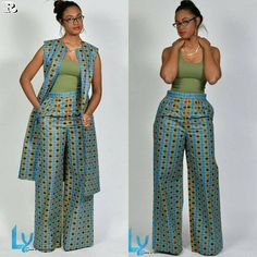 Premium Pants, African Print Wide Leg Pants – African Fashion Dresses - African Styles for Ladies African Fashion Designers, African Inspired Fashion, African Print Fashion, Africa Fashion, Ethnic Fashion, Look Fashion, Fashion Outfits, Fashion Styles, Fashion Skirts