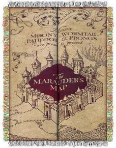 Harry Potter Marauder's Map Tapestry Throw, 48 by 60-Inch