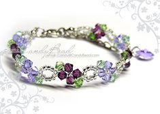 Purple and Violet Swarovski Crystal Bracelet - Sweet purple by CandyBead