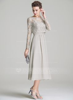A-Line/Princess Sweetheart Tea-Length Chiffon Mother of the Bride Dress With Ruffle (008072687)