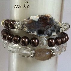 Druzy Focal Gemstone Bracelet Stack of Three by mSsDdesigns