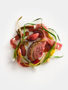 Duck, honey lavender glazed with rhubarb and spring onions by chef Daniel Humm of Eleven Madison Park in New York, USA. © Francesco Tonelli - See more at: http://theartofplating.com/news/top-10-of-the-worlds-50-best-restaurants-2016/#sthash.vvacobju.dpuf
