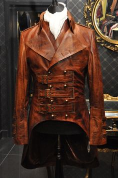 IMPERO LONDON MENS NEW LEATHER ANTIQUE MILITARY STEAMPUNK VICTORIAN COAT JACKET  ie.picclick.com
