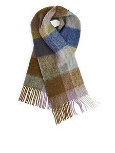 Fluffy Wool Scarf - Green/Beige - Bags & accessories - ARKET GB In China, Hangzhou, Tonga, Brunei, Wool Scarf, Plaid Scarf, Georgia, Social Media Plattformen, H&m Group