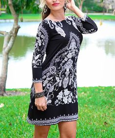 Loving this Black & White Arabesque Shift Dress on #zulily! #zulilyfinds