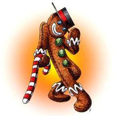 Gingerbread Man Dance Digi Stamp in Digital images