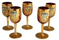 "5 Gilded Cranberry Cordial Glasses   -  2""W x 4.5""H  -  OneKingsLane.com  -  ($295.00)  $119.00"
