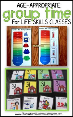 Made specifically for middle school and high school special education classrooms' morning meeting or group times. Supports calendar skills, communication, choice making, and application of real-life skills to daily life to increase engagement for students.