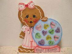 HP Gingerbread Hugs & kisses Valentine's Day Shelf Sitter hand painted USA