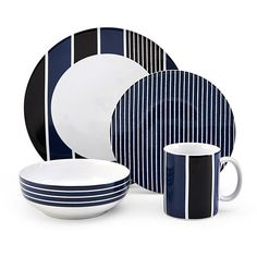 Nautica® Knots Bay Blue 4 Piece Place Setting featuring polyvore, home, kitchen & dining, dinnerware, blue stoneware, blue dinner plates, blue stoneware dinnerware, colored dinnerware and blue soup bowls