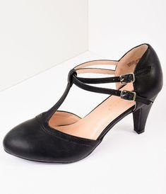 d9bdae75392 Vintage Style Black Leatherette Round Toe T-Strap Heels
