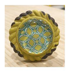 Rustic Antique Yellow Metal Knob with Geometric by ShabbyRestore