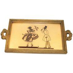Vintage Silhouette Design Wooden Framed Tray