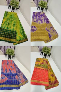 Buy latest color combinations shibori print Georgette Checks Sarees With Blouse 8897195985 | #siridesigners #georgettesarees Checks Saree, Latest Colour, Georgette Sarees, Shibori, Color Combinations, Kids Rugs, Blouses, Pure Products, Fabric