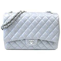 Chanel Spring 2012 Grey Silver Maxi Flap 2.55 Quilt Bag