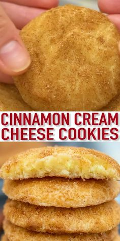 Cinnamon Cream Cheese Cookies are soft, chewy, and irresistible! Celebrate the holidays with these snickerdoodles that will surely be a crowd-pleaser! desserts for a group Cinnamon Cream Cheese Cookies [Video] - Sweet and Savory Meals Keto Cookies, Yummy Cookies, Cookies Et Biscuits, Bar Cookies, Shortbread Cookies, Chip Cookies, Buttery Cookies, Baking Cookies, Soft Snickerdoodle Cookies