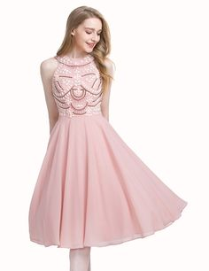 Pink Knee-Length Jewel Sleeveless Prom Homecoming Dress with Beading Crystal