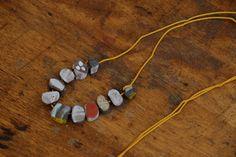 Handmade ceramic beads necklace - Yellow. Shinos World