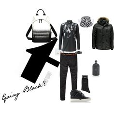 Going Black by nattysupplyco on Polyvore featuring Helmut Lang, Giuseppe Zanotti, McQ by Alexander McQueen, Scotch & Soda, Czech & Speake and BOSS Black