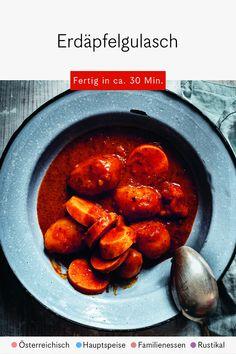 """Ein weiteres unkompliziertes Gericht nach dem Motto """"Entspannt kochen"""": Das klassisch österreichische Erdäpfelgulasch ist in rund einer halben Stunde zubereitet, es kann vegetarisch oder mit Wurst zubereitet werden. Einfach gut!"""