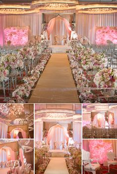 immaculate lush and modern pink and gold mandarin oriental las vegas wedding aisle floral - Walls By Design